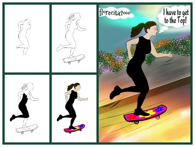 how to draw a skateboard step by step