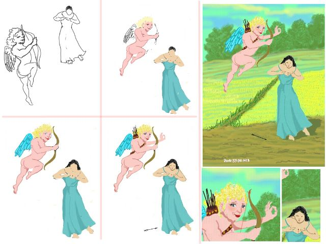 how to draw cupid step by step