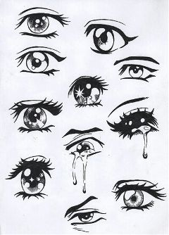 manga eyes pencil art