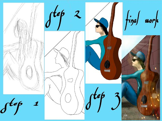 how to draw guitar step by step