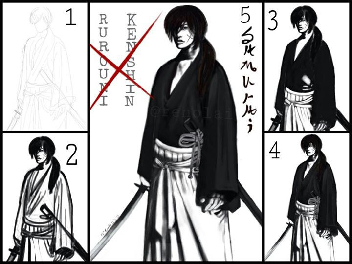 some steps of my favorite samurai--battousai of Samurai X. anyone who has seen the movie? it is awesome! Please vote for him in the contest! thanks!!!